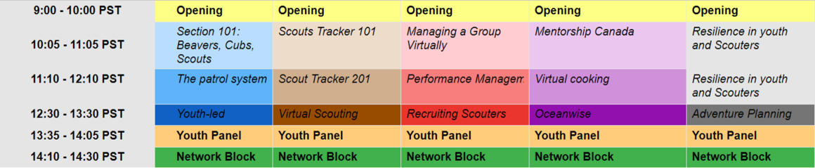 Schedule for ScoutCon